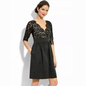 Eliza J Lace & Faille Dress 3/4 Sleeve Fit & Flare